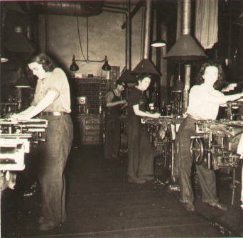 1942 photo of Casting room at Rumford Press